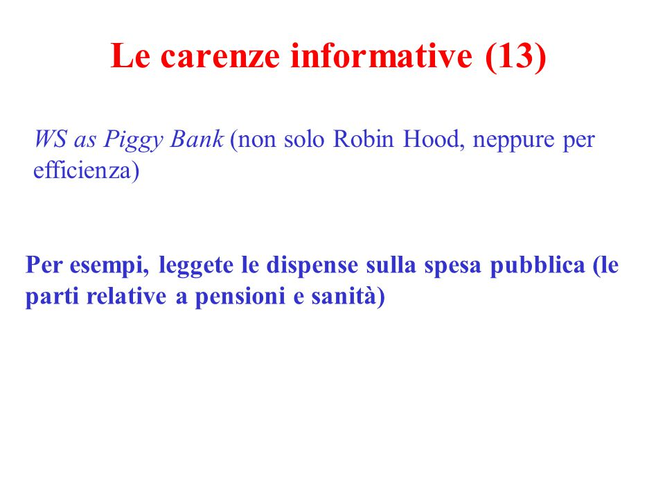 Le carenze informative (13)