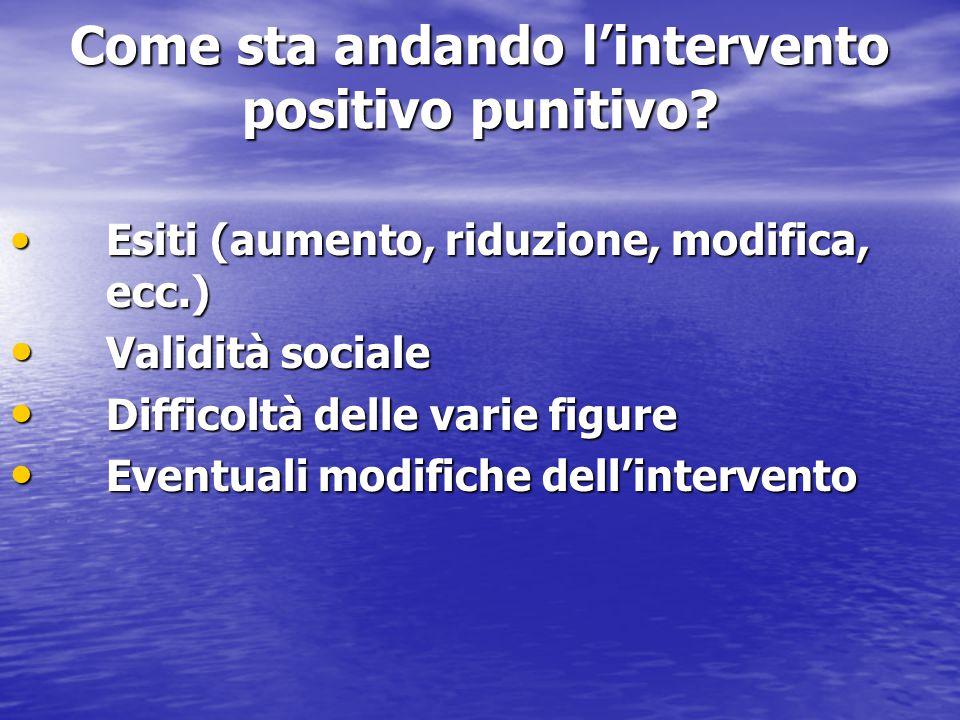 Come sta andando l'intervento positivo punitivo
