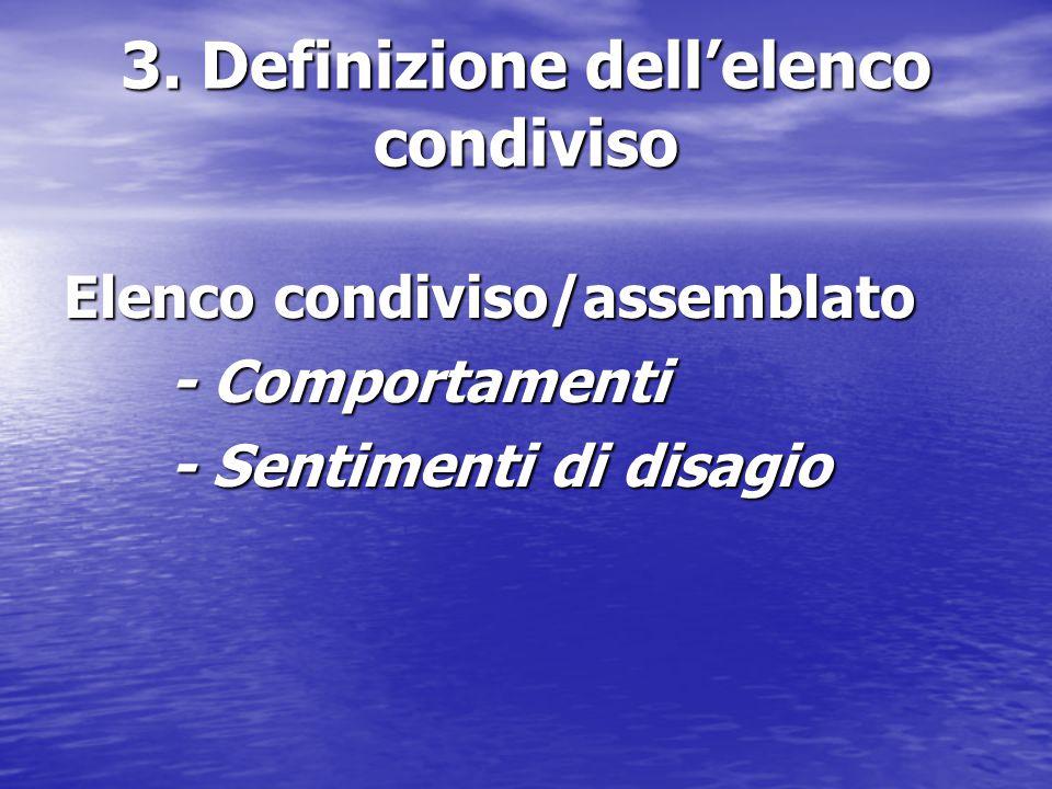 3. Definizione dell'elenco condiviso
