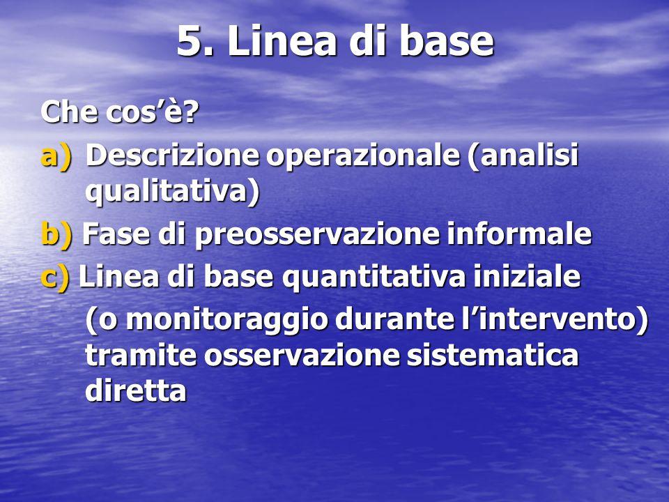 5. Linea di base Che cos'è a) Descrizione operazionale (analisi qualitativa) b) Fase di preosservazione informale.