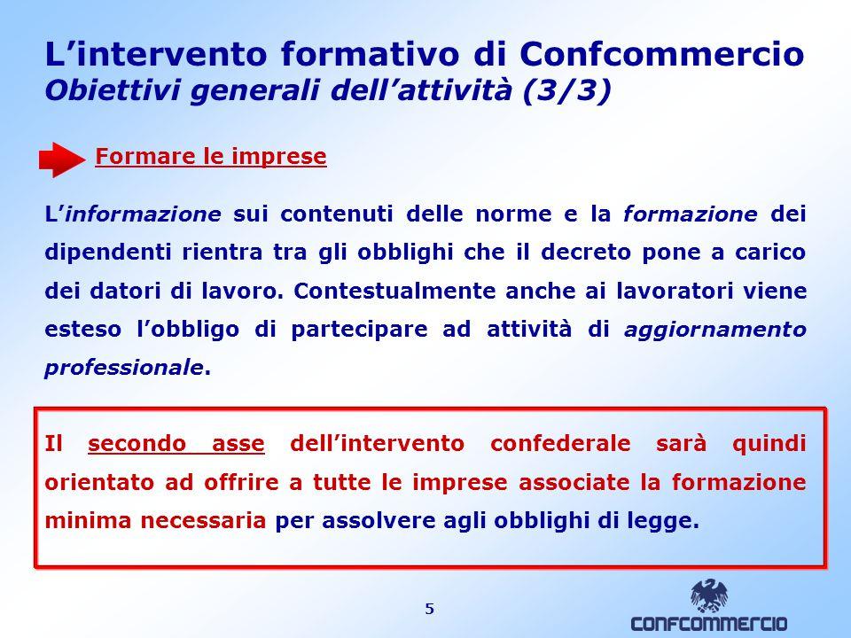 L'intervento formativo di Confcommercio Declinazione generale del progetto