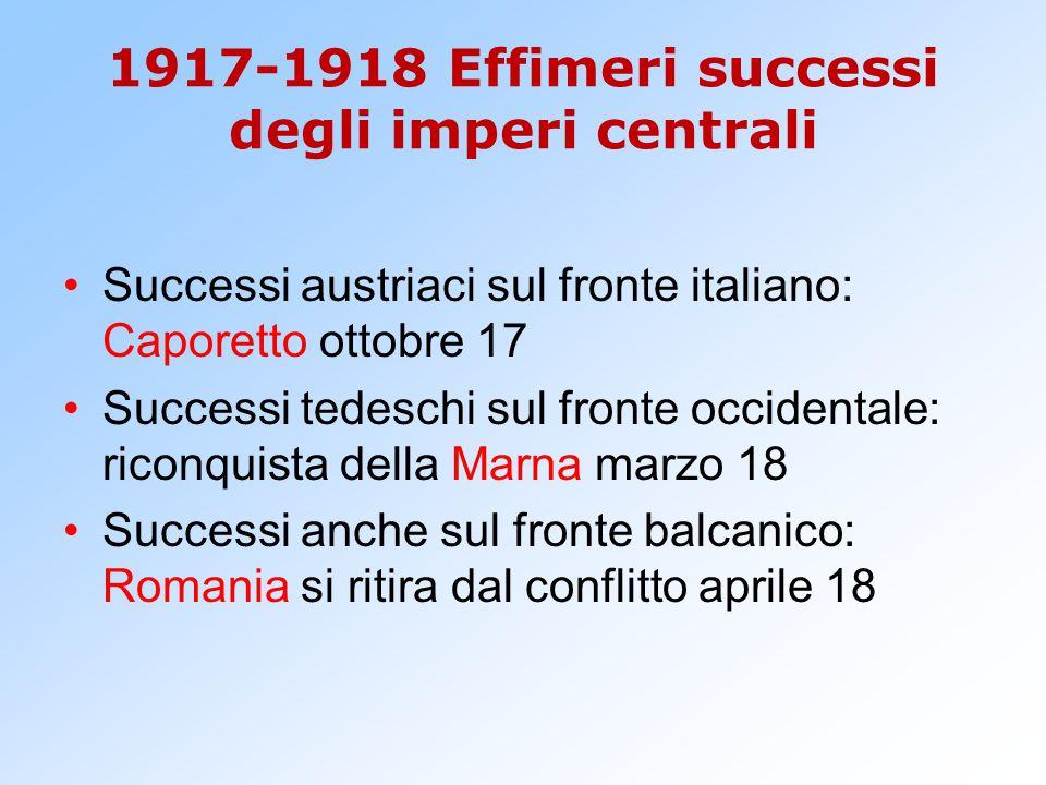 1917-1918 Effimeri successi degli imperi centrali