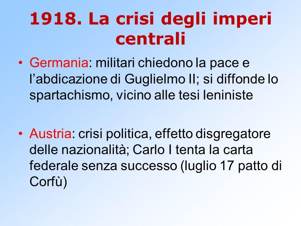 1918. La crisi degli imperi centrali