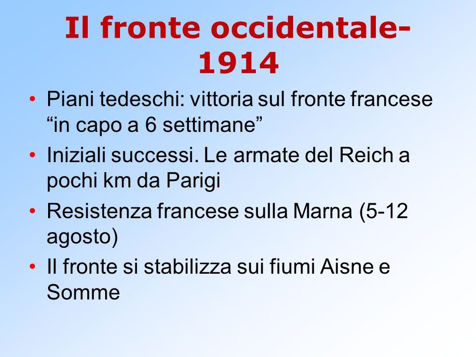 Il fronte occidentale-1914