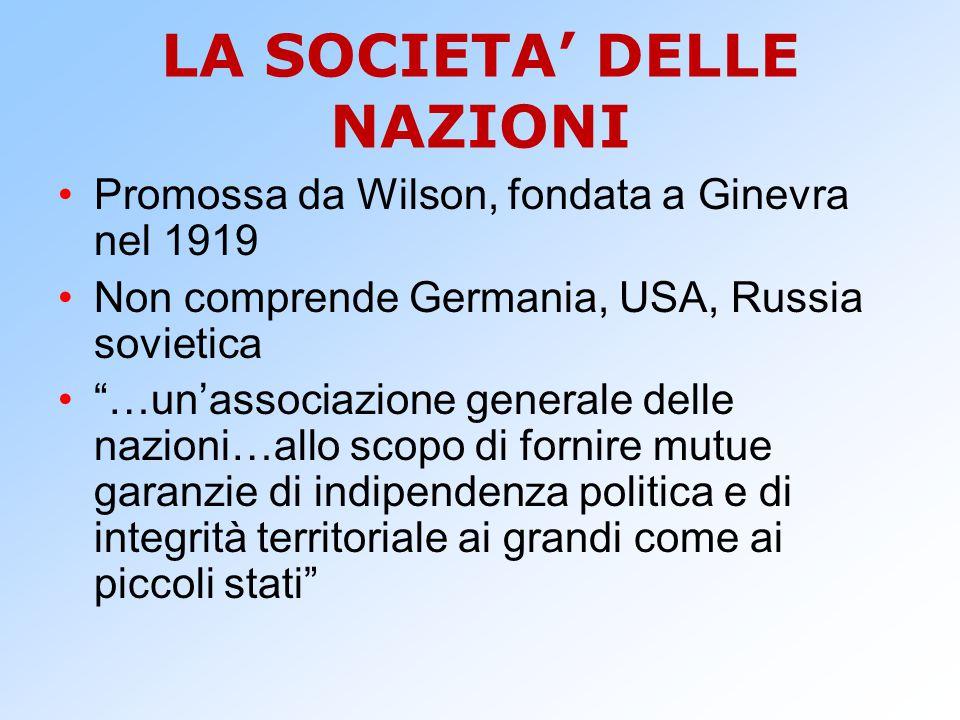 LA SOCIETA' DELLE NAZIONI