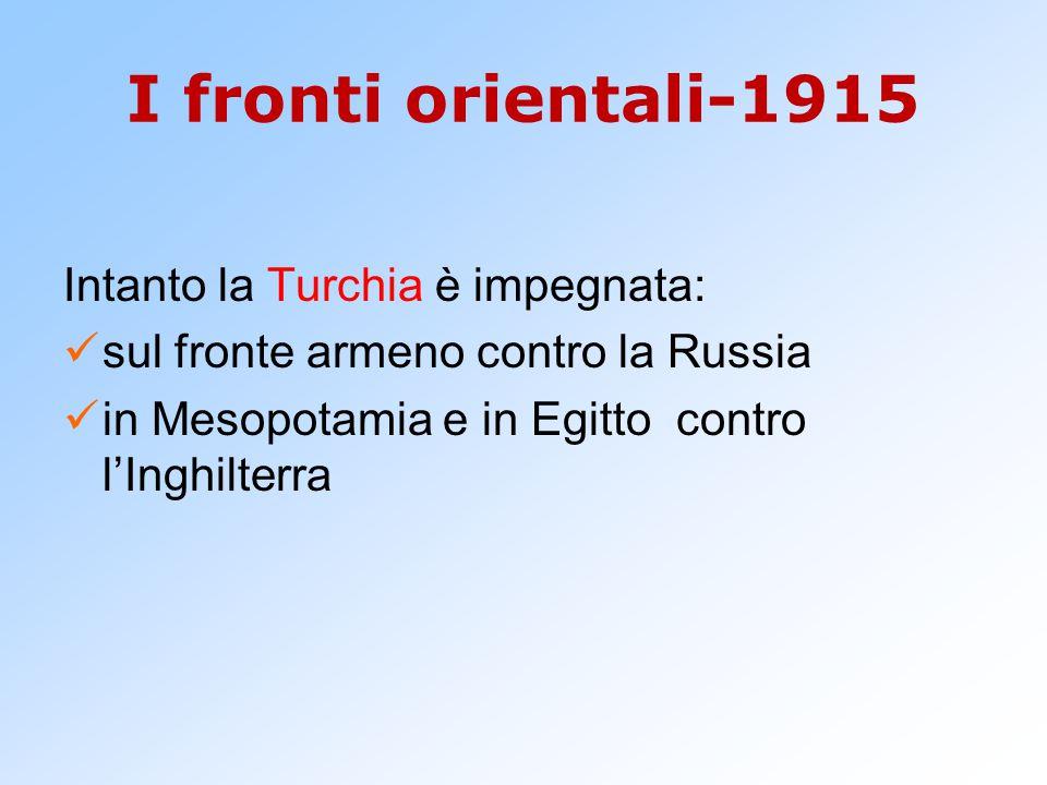 I fronti orientali-1915 Intanto la Turchia è impegnata: