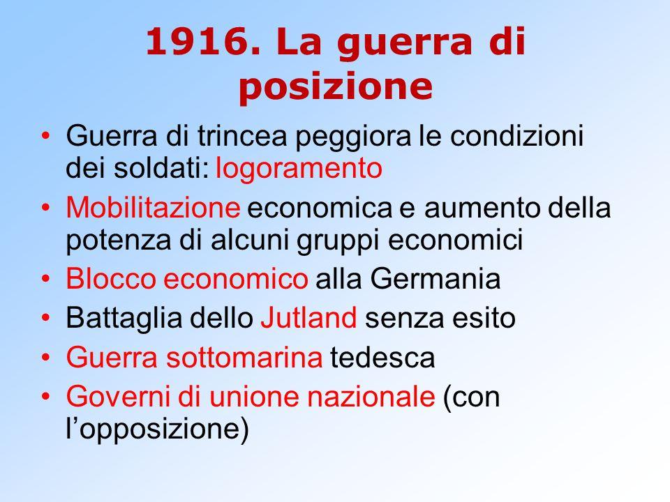 1916. La guerra di posizione Guerra di trincea peggiora le condizioni dei soldati: logoramento.