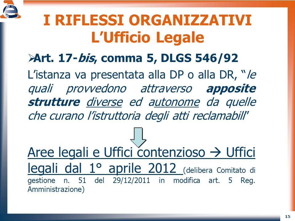 I RIFLESSI ORGANIZZATIVI L'Ufficio Legale