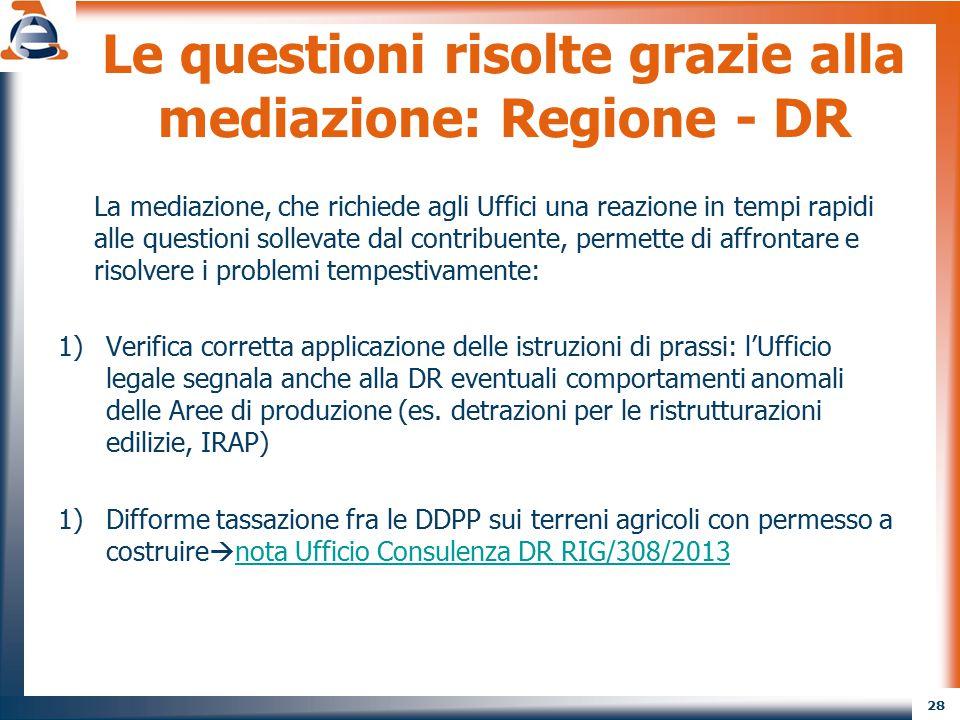 Le questioni risolte grazie alla mediazione: Regione - DR