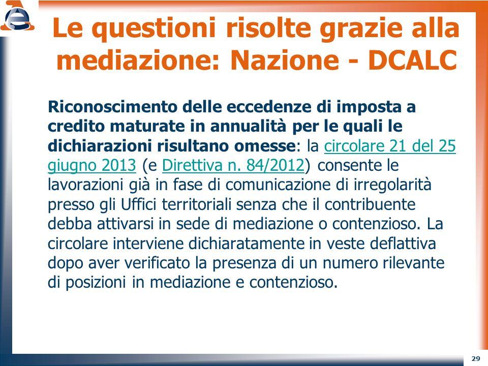 Le questioni risolte grazie alla mediazione: Nazione - DCALC