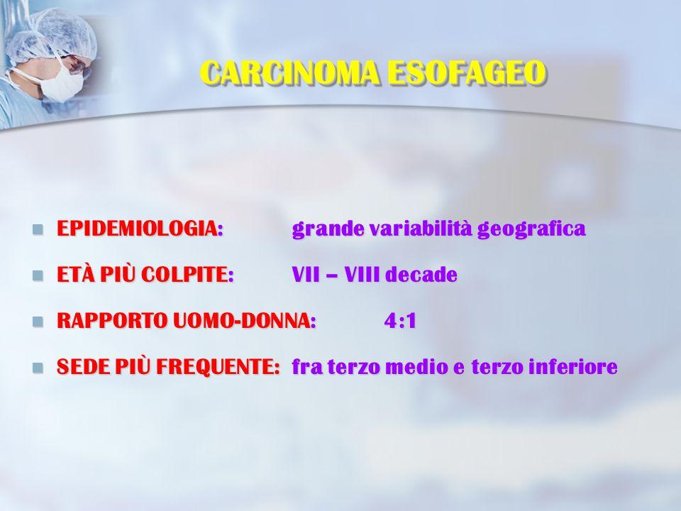 CARCINOMA ESOFAGEO EPIDEMIOLOGIA: grande variabilità geografica