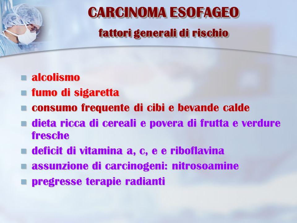 CARCINOMA ESOFAGEO fattori generali di rischio