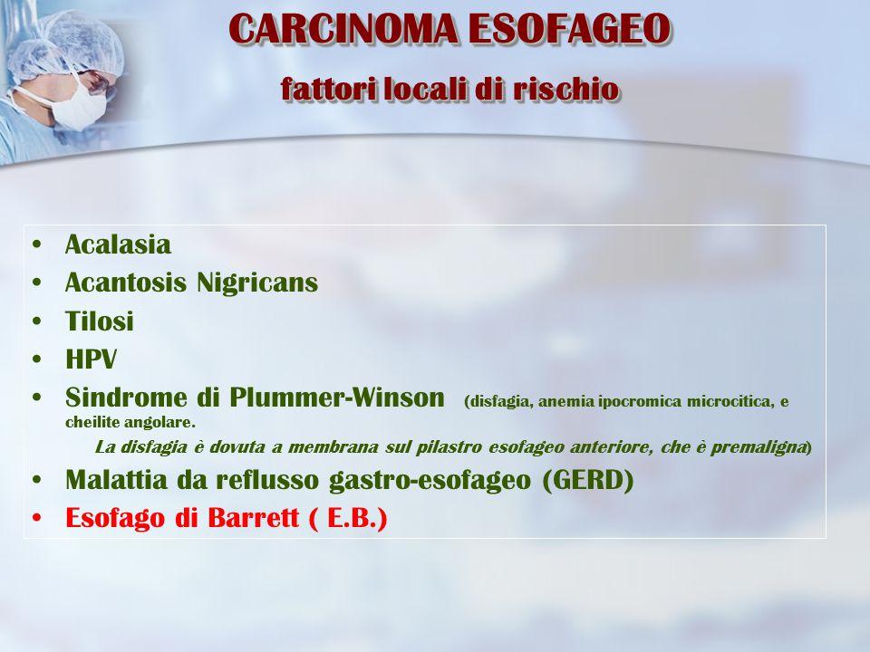 CARCINOMA ESOFAGEO fattori locali di rischio