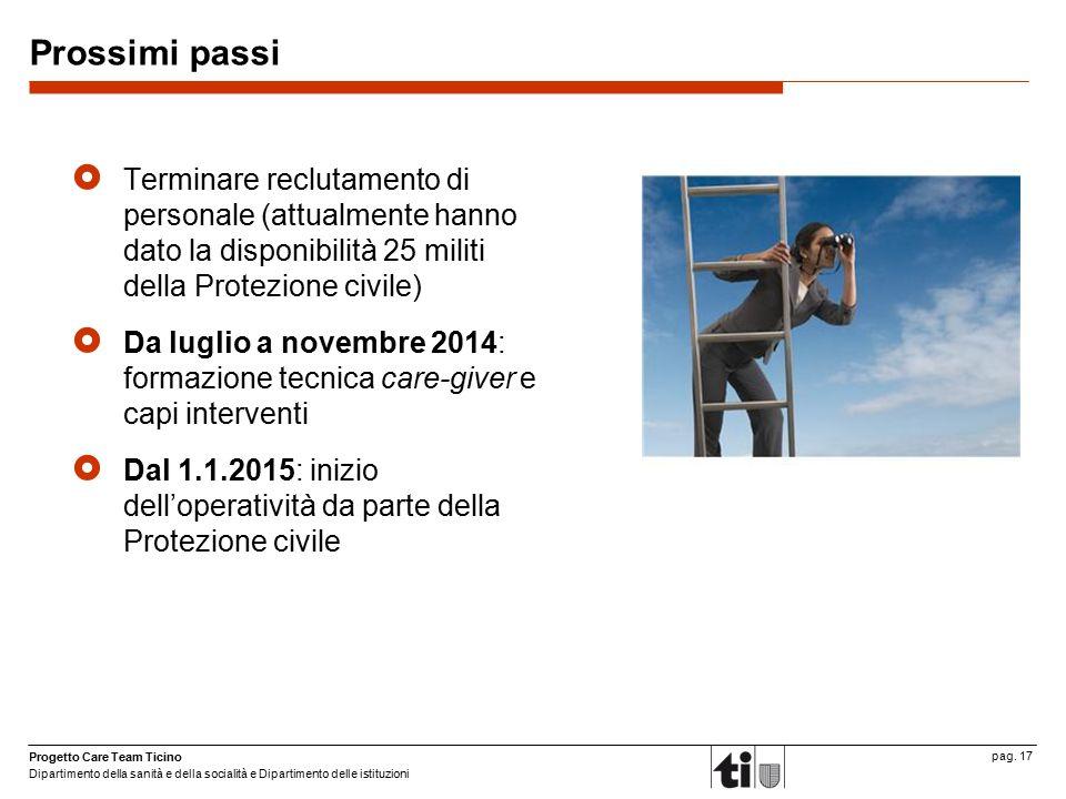 Prossimi passi Terminare reclutamento di personale (attualmente hanno dato la disponibilità 25 militi della Protezione civile)