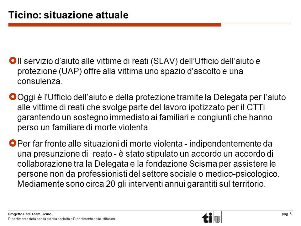Ticino: situazione attuale