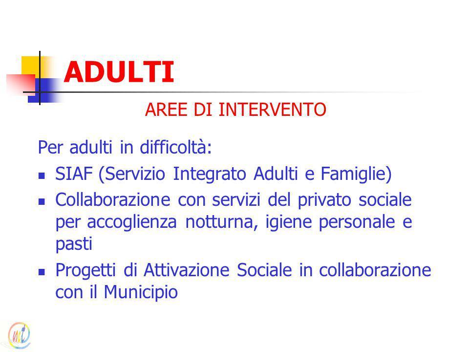 ADULTI AREE DI INTERVENTO Per adulti in difficoltà:
