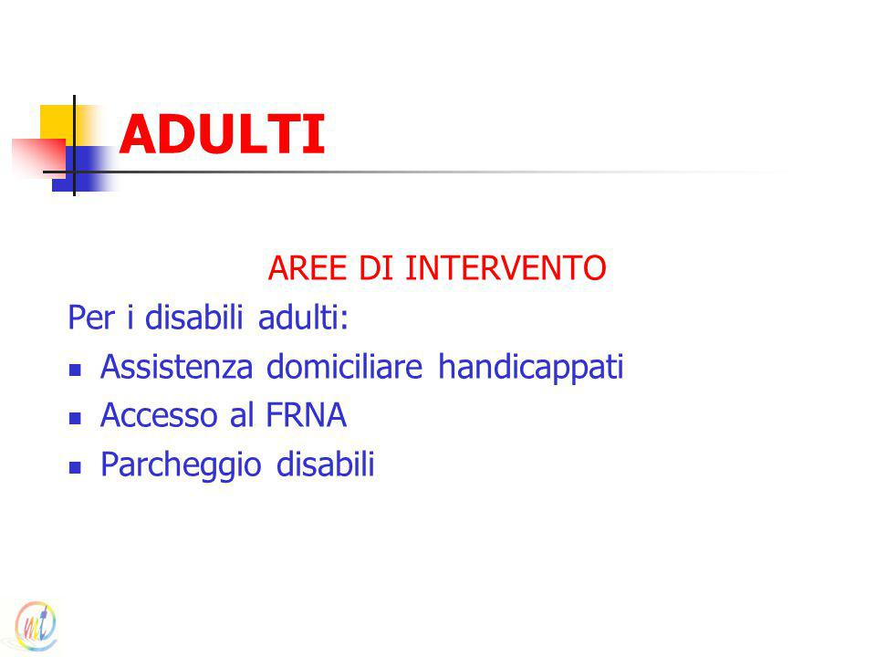 ADULTI AREE DI INTERVENTO Per i disabili adulti:
