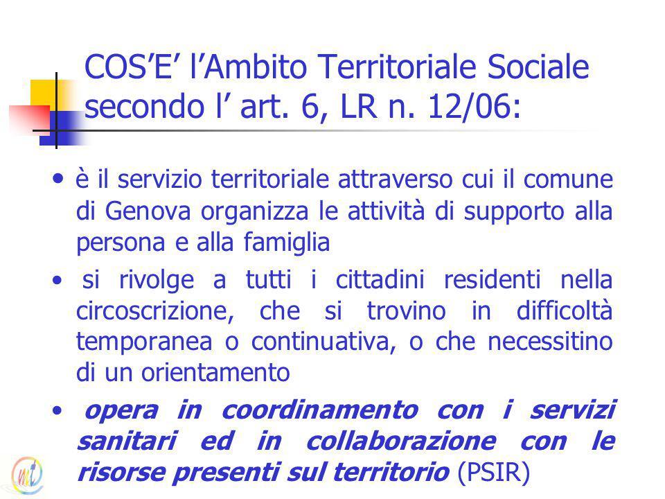 COS'E' l'Ambito Territoriale Sociale secondo l' art. 6, LR n. 12/06: