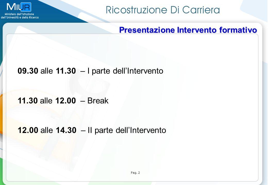 09.30 alle 11.30 – I parte dell'Intervento