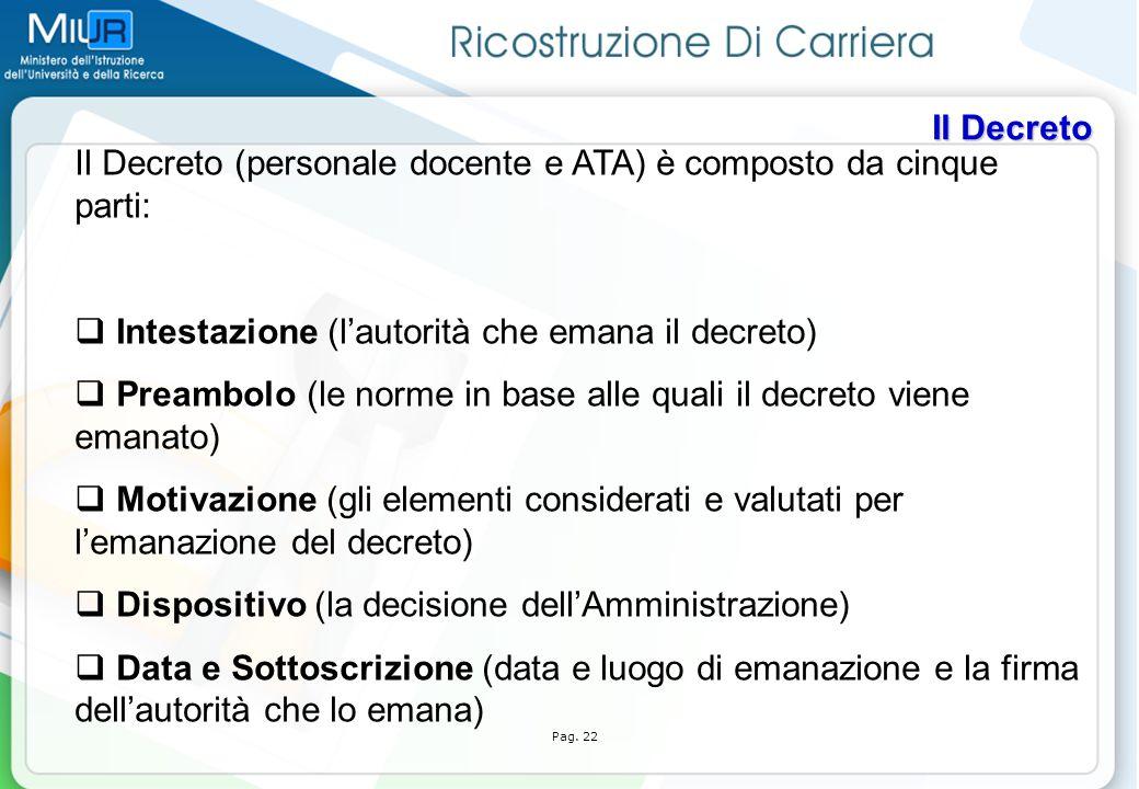 Il Decreto (personale docente e ATA) è composto da cinque parti: