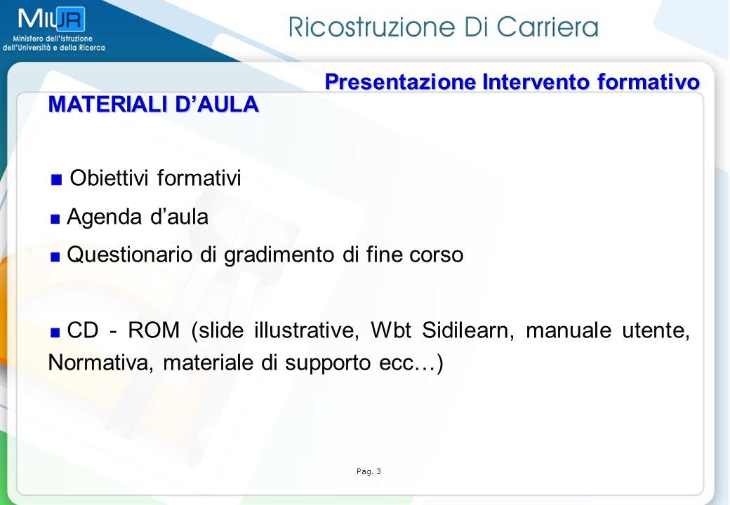Obiettivi formativi MATERIALI D'AULA Agenda d'aula