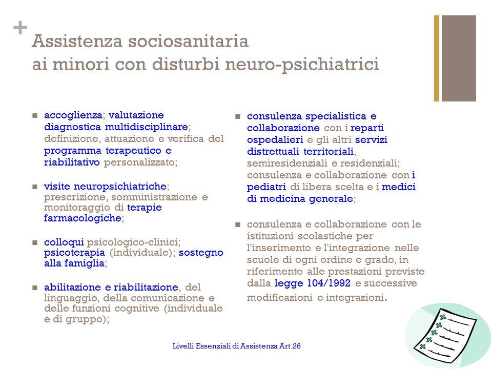 Assistenza sociosanitaria ai minori con disturbi neuro-psichiatrici