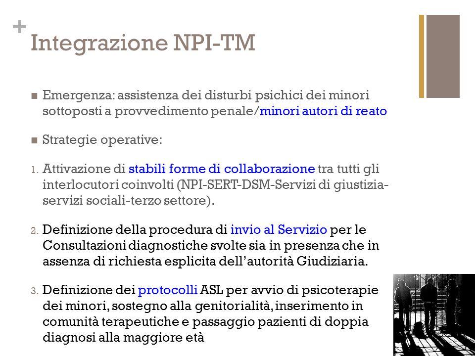 Integrazione NPI-TM Emergenza: assistenza dei disturbi psichici dei minori sottoposti a provvedimento penale/minori autori di reato.