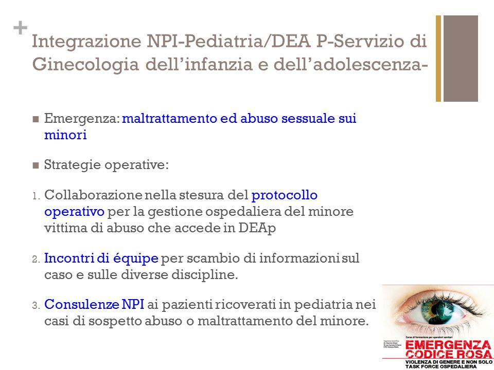 Integrazione NPI-Pediatria/DEA P-Servizio di Ginecologia dell'infanzia e dell'adolescenza-