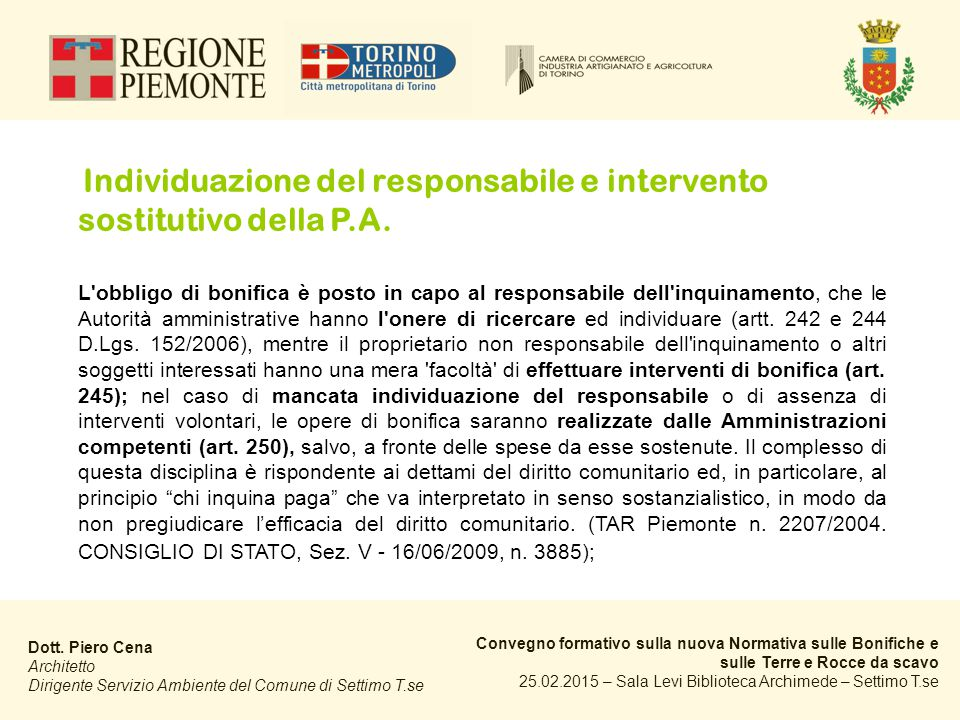 Individuazione del responsabile e intervento sostitutivo della P.A.