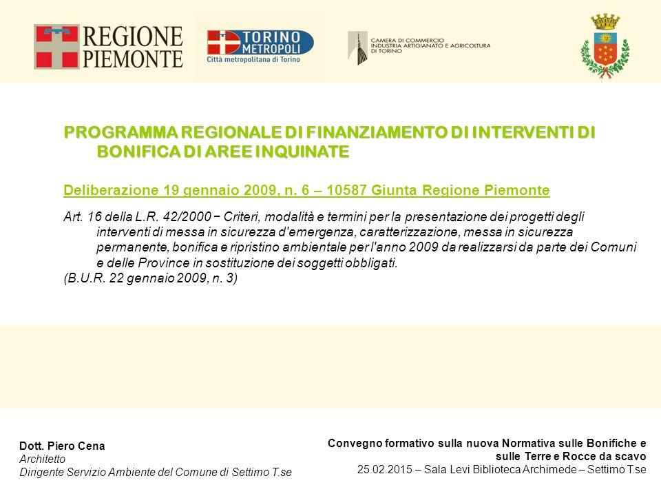 PROGRAMMA REGIONALE DI FINANZIAMENTO DI INTERVENTI DI BONIFICA DI AREE INQUINATE