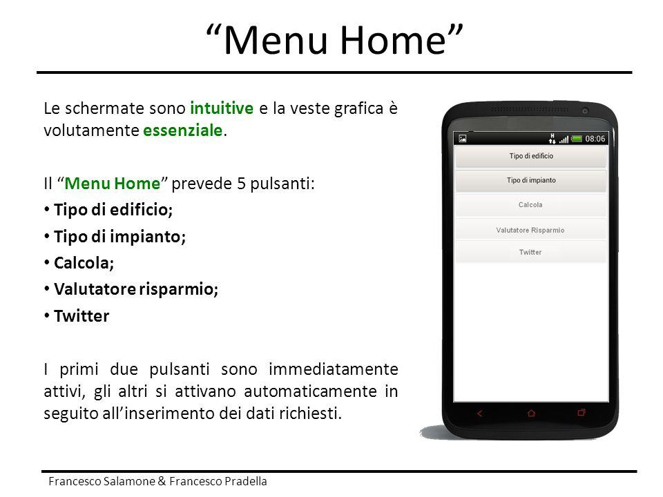 Menu Home Le schermate sono intuitive e la veste grafica è volutamente essenziale. Il Menu Home prevede 5 pulsanti: