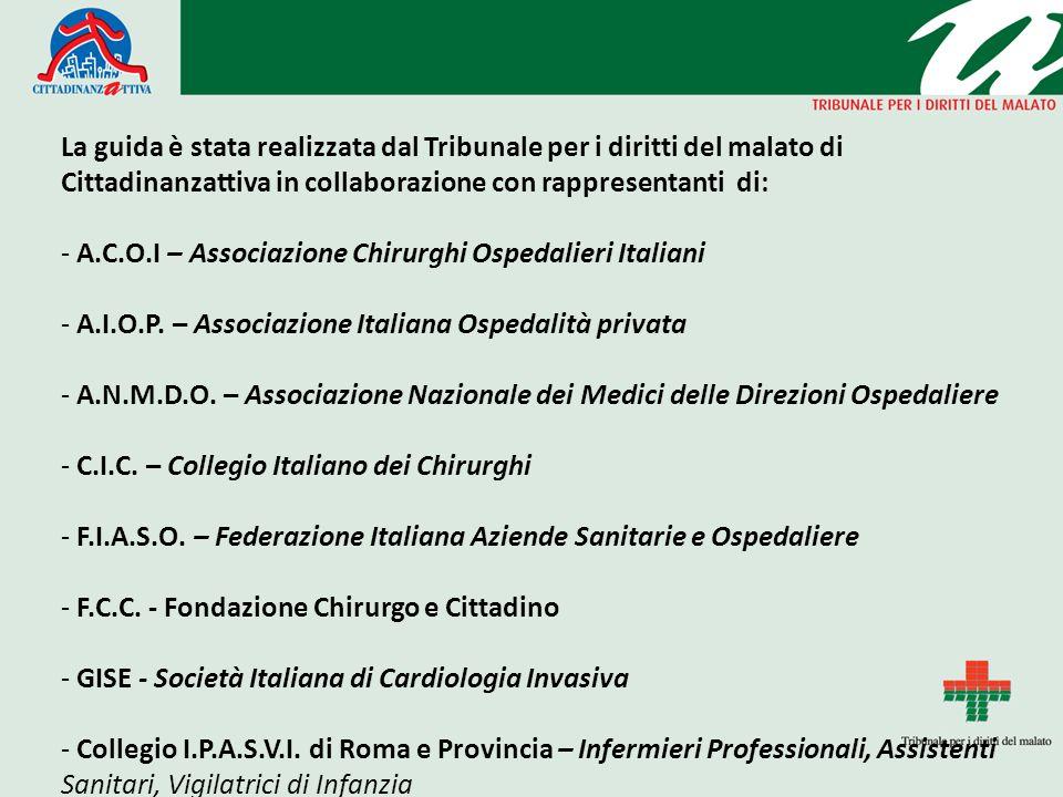 La guida è stata realizzata dal Tribunale per i diritti del malato di Cittadinanzattiva in collaborazione con rappresentanti di: - A.C.O.I – Associazione Chirurghi Ospedalieri Italiani - A.I.O.P.