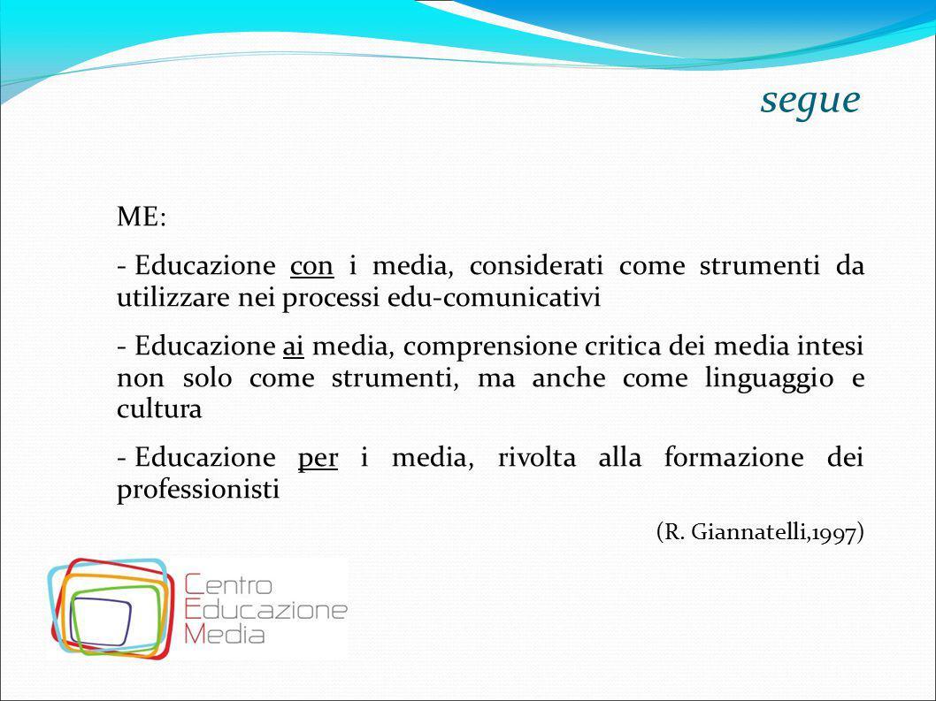 segue ME: Educazione con i media, considerati come strumenti da utilizzare nei processi edu-comunicativi.