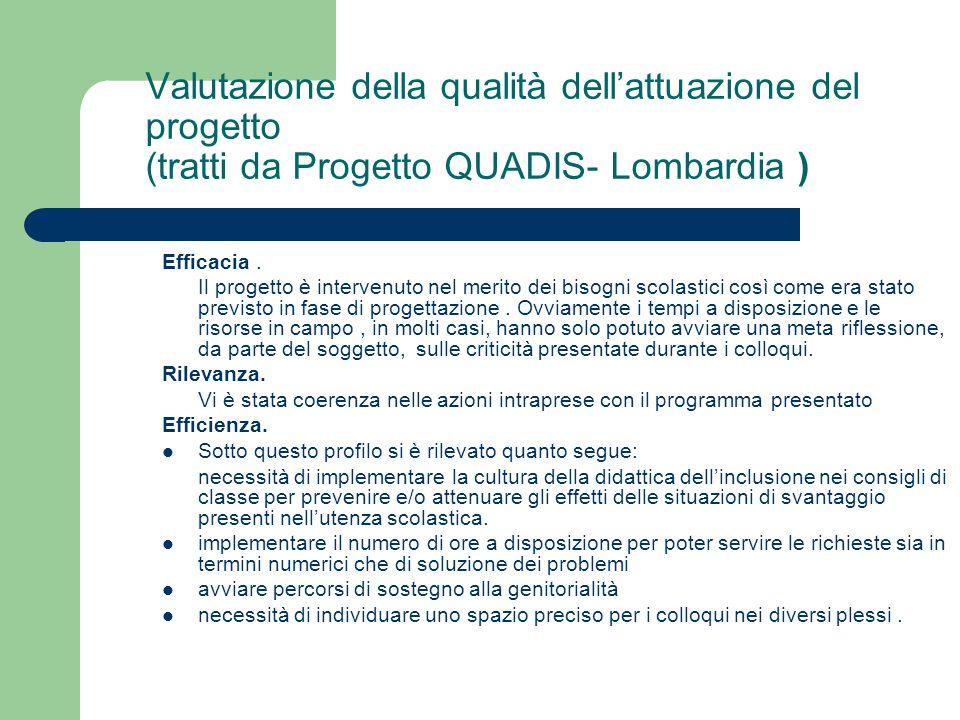 Valutazione della qualità dell'attuazione del progetto (tratti da Progetto QUADIS- Lombardia )