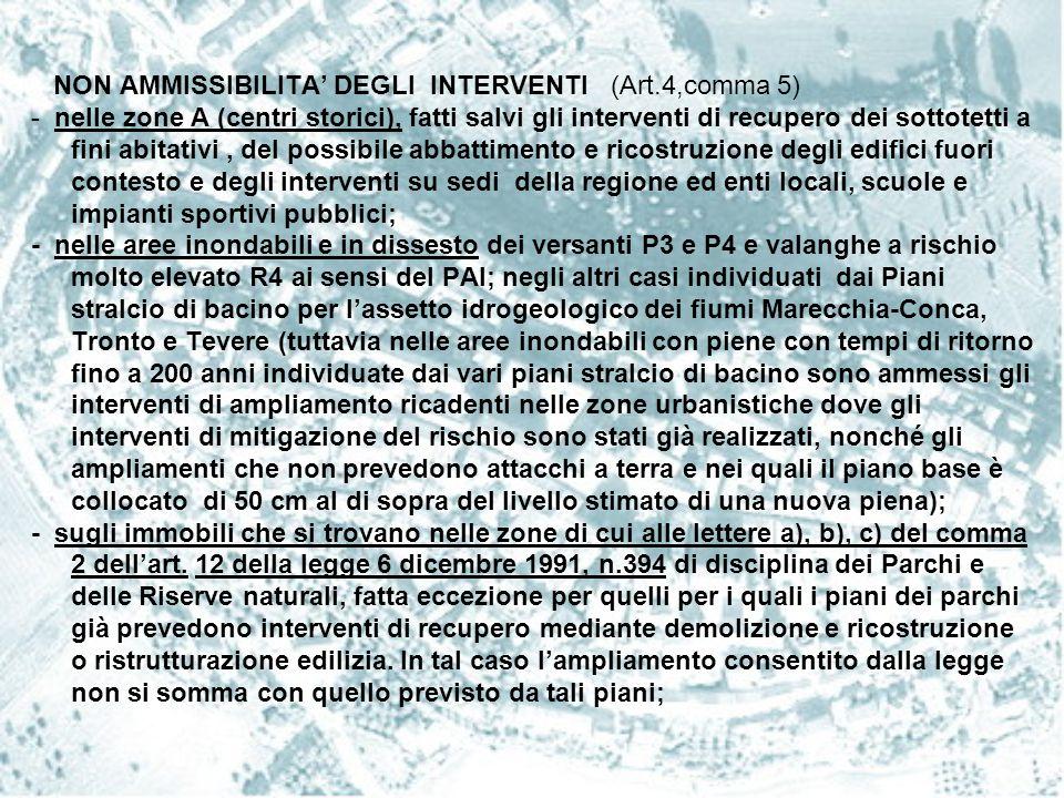 NON AMMISSIBILITA' DEGLI INTERVENTI (Art.4,comma 5)