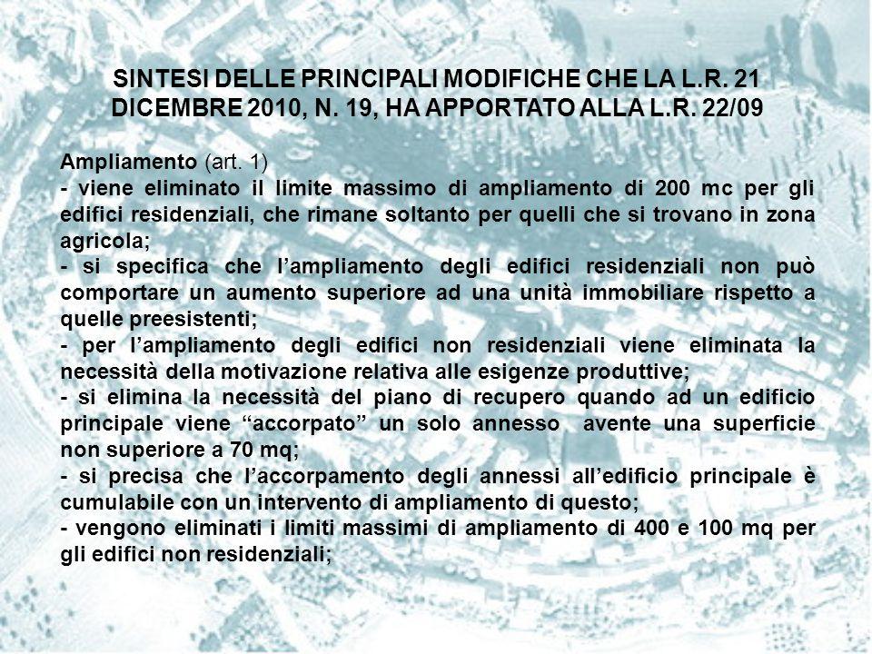 SINTESI DELLE PRINCIPALI MODIFICHE CHE LA L. R. 21 DICEMBRE 2010, N