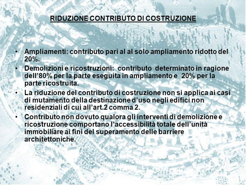 RIDUZIONE CONTRIBUTO DI COSTRUZIONE
