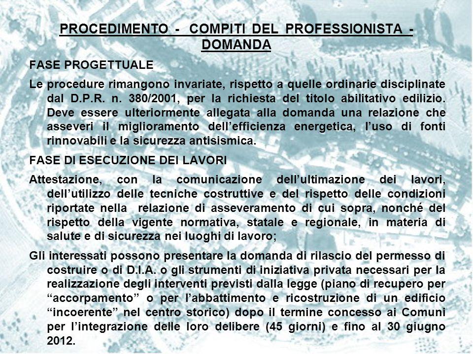 PROCEDIMENTO - COMPITI DEL PROFESSIONISTA - DOMANDA