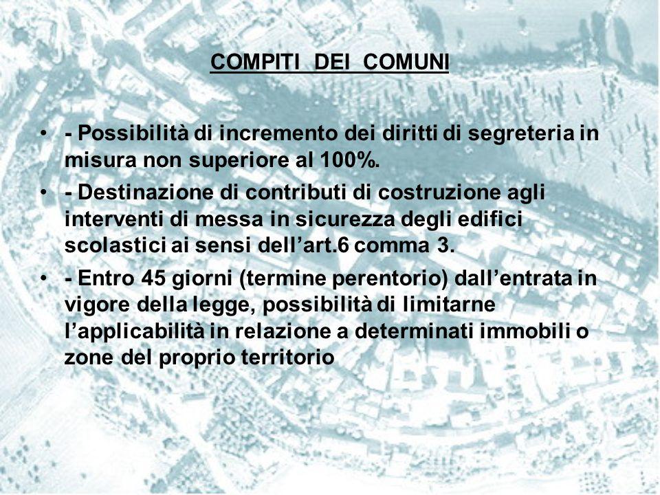 COMPITI DEI COMUNI - Possibilità di incremento dei diritti di segreteria in misura non superiore al 100%.