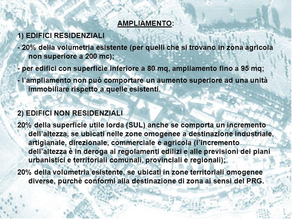 AMPLIAMENTO: 1) EDIFICI RESIDENZIALI. - 20% della volumetria esistente (per quelli che si trovano in zona agricola non superiore a 200 mc);