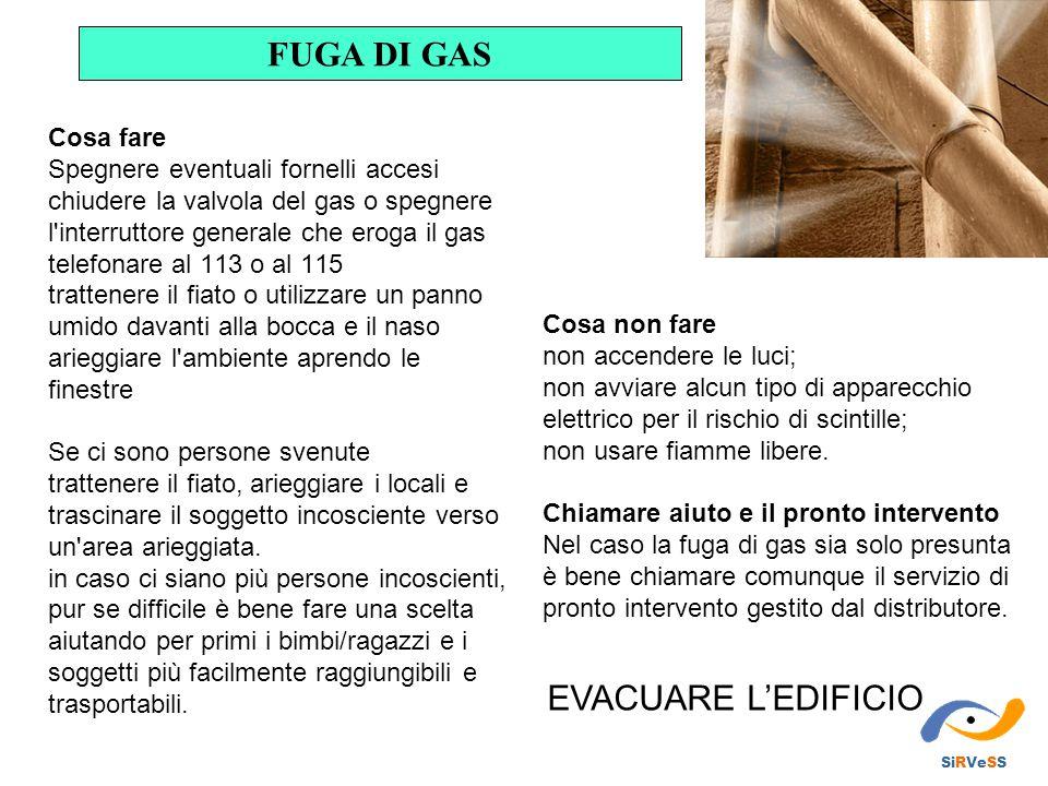 FUGA DI GAS EVACUARE L'EDIFICIO