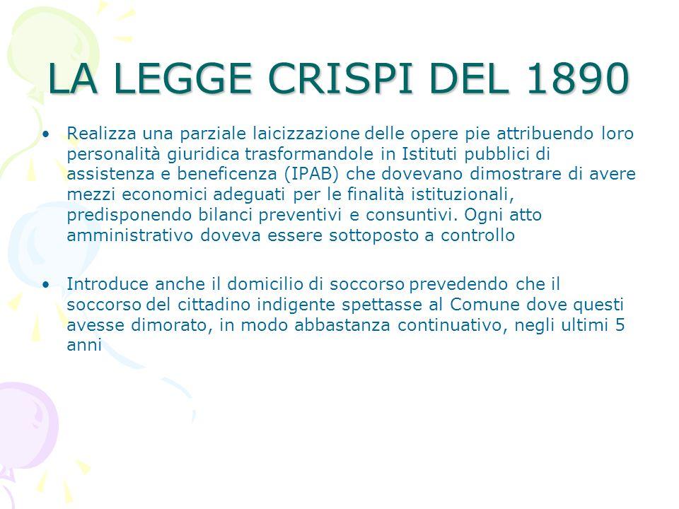 LA LEGGE CRISPI DEL 1890