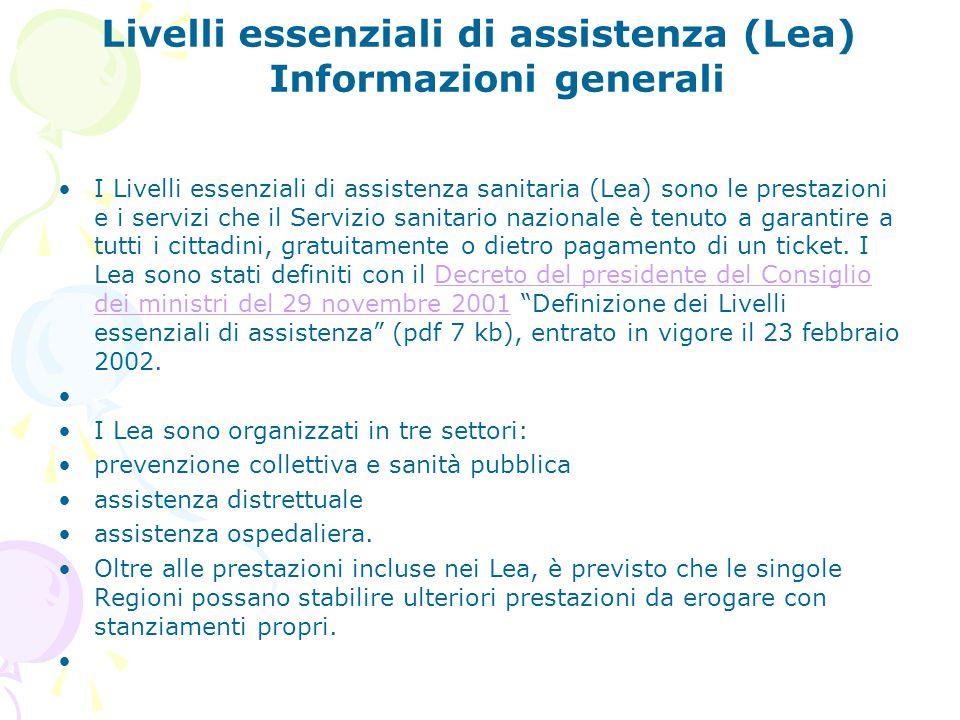 Livelli essenziali di assistenza (Lea) Informazioni generali