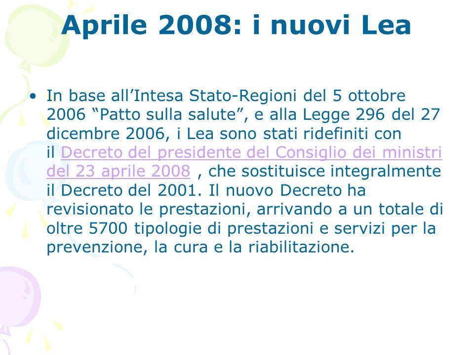 Aprile 2008: i nuovi Lea
