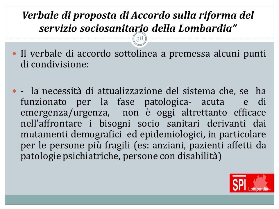 Verbale di proposta di Accordo sulla riforma del servizio sociosanitario della Lombardia