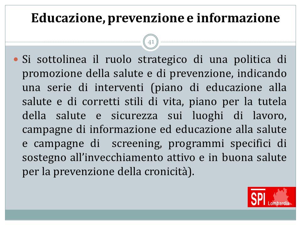 Educazione, prevenzione e informazione