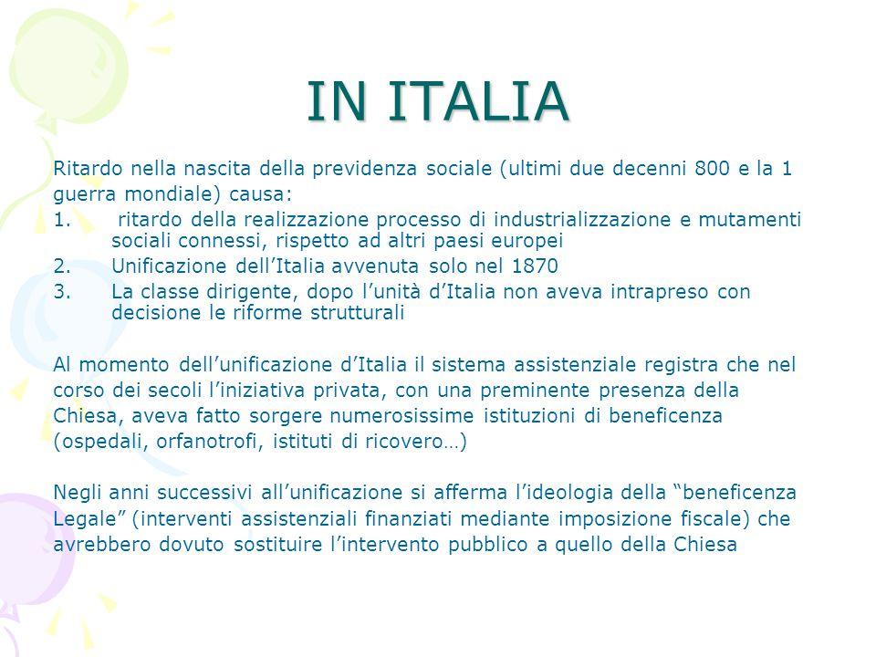IN ITALIA Ritardo nella nascita della previdenza sociale (ultimi due decenni 800 e la 1. guerra mondiale) causa:
