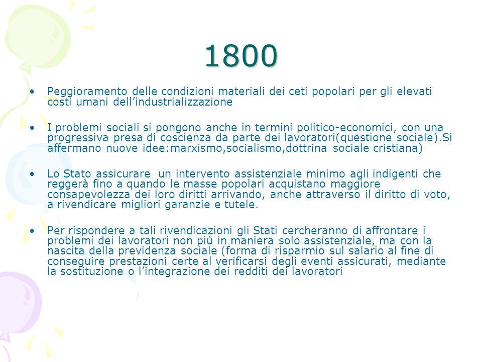 1800 Peggioramento delle condizioni materiali dei ceti popolari per gli elevati costi umani dell'industrializzazione.