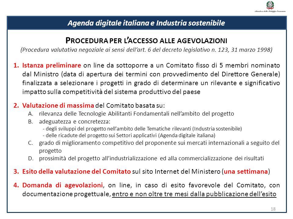 Procedura per l'accesso alle agevolazioni