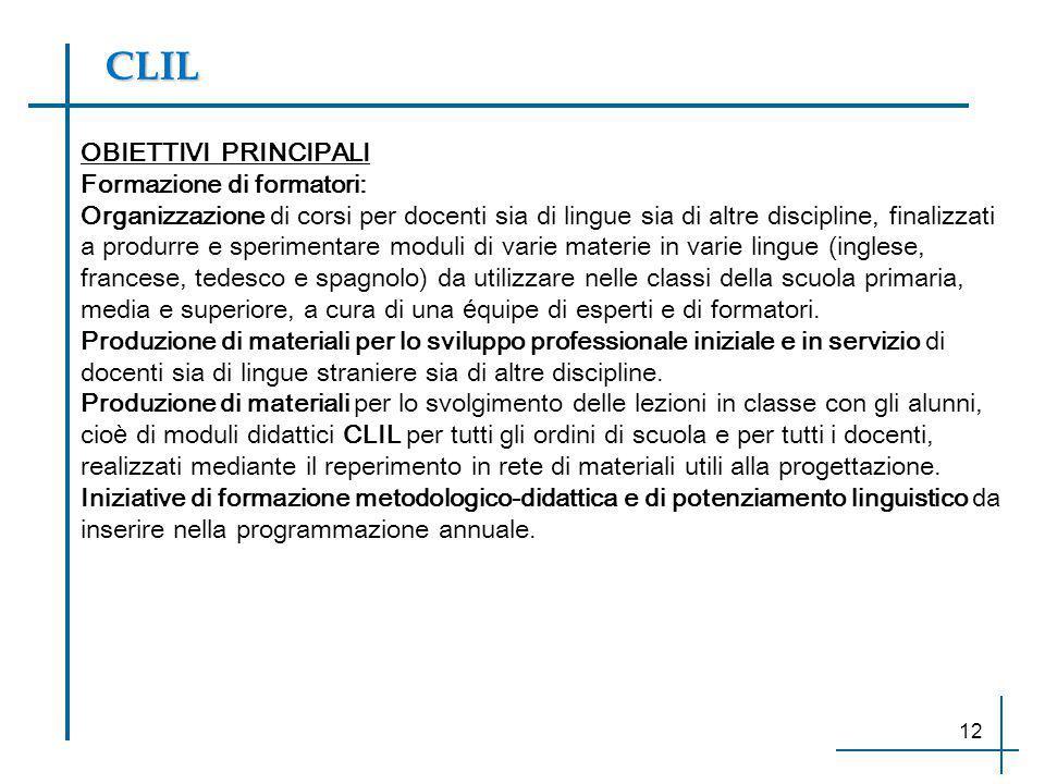 CLIL OBIETTIVI PRINCIPALI Formazione di formatori:
